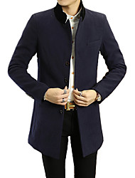 Men's Solid Casual / Formal Trench coatBamboo Fiber / Polyester Long Sleeve-Black / Blue / Yellow