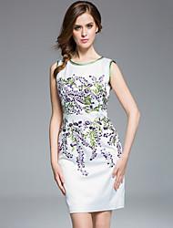 masa femmes, plus la taille / sortir gaine sophistiquée dressembroidered col rond manches au-dessus du genou