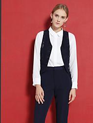 c + impressionar trabalho das mulheres simples Primavera blazersolid v pescoço sem mangas azul rayon / poliéster / nylon opaco