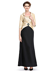 LAN TING BRIDE Sheath / Column Mother of the Bride Dress - Convertible Dress Ankle-length 3/4 Length Sleeve Taffeta withBeading Draping