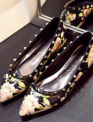 Women's Flats Summer Comfort Leatherette Outdoor Flat Heel Flower Black White Others