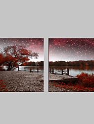 E-HOME® Stretched LED Canvas Print Art The River Scenery Flash Effect LED Flashing Optical Fiber Print Set of 2