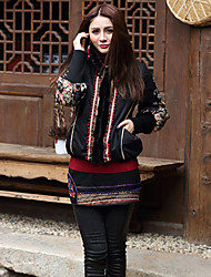 Our Story Women's Regular Padded CoatBoho Going out Floral-Cotton Cotton Long Sleeve Stand Black