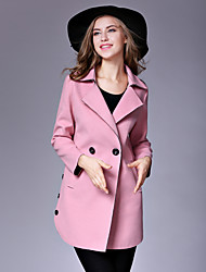 Women's Casual/Daily Street chic Pea CoatsSolid Notch Lapel Long Sleeve Winter Pink / Red / Yellow Wool / Cotton Medium