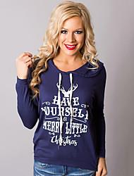 Normal Hoodies Femme Décontracté / Quotidien simple,Lettre Bleu / Rouge Capuche Manches Longues Coton Automne Moyen Micro-élastique