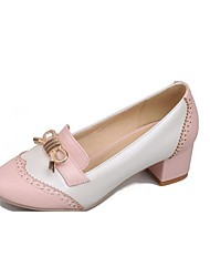 Women's Round Closed Toe Low-Heels Soft Material Assorted Color Pull-on Pumps-Shoes