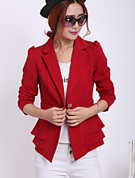 Women's Work Simple Spring / Fall Blazer,Solid Notch Lapel Long Sleeve Red / Orange Rayon Medium