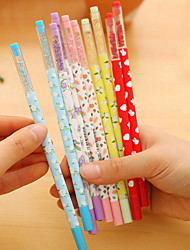 12 PCS Floral Black Ink Gel Pen