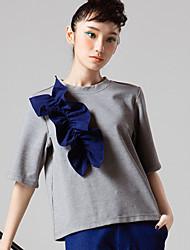 room404 женщин происходит из простой пружины blousesolid шеи экипажа длина рукава белый / серый
