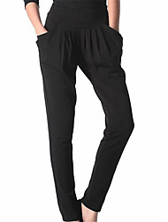 Women's Solid Black Harem PantsVintage / Simple  Plus Size