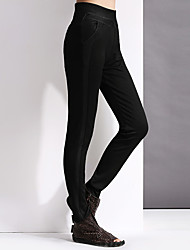 Yishidian Women's Mid Rise Cigarette Black Casual Pants-ESD9466