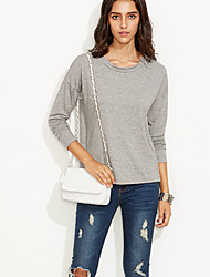Women's Going out / Casual/Daily Sexy / Simple Fall / Winter T-shirtPatchwork Round Neck Long Sleeve Gray
