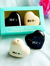 Mr. & Mrs. Ceramic Salt & Pepper Shakers in Tiffany Blue Giftbox