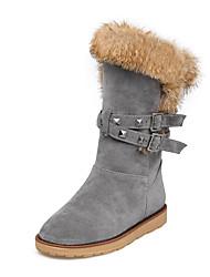 Women's Boots Winter Comfort Fur Fleece Office & Career Casual Athletic Flat Heel Rivet Buckle Black Gray Almond Hiking