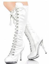 Feminino-Botas-Plataforma Botas da Moda Sapatos clube Light Up Shoes-Salto Agulha Plataforma Salto Alto de Cristal-Preto Rosa Vermelho