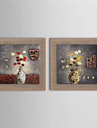 2 Panel Wall Art Pictures Oil Painting On Linen Home Decoration Abstract Flower And Vase Artwork Picture Decor Painting