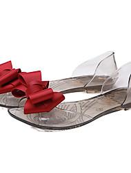 Damen-Sandalen-Lässig-PVC-Flacher Absatz Durchsichtige AbsätzeSchwarz Rot Champagner