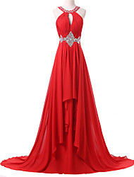 Formal Evening Dress A-line Jewel Sweep / Brush Train Chiffon with Beading / Pleats
