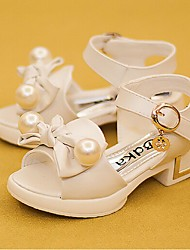 Girl's Sandals Summer Leather Dress Low Heel Bowknot Pink Gray Beige Others
