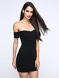 Women's Off The Shoulder Sexy Bodycon Casual Cute Micro Elastic Short Sleeve Above Knee Dress (Cotton)