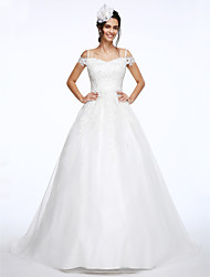 Lanting Bride® Ball Gown Wedding Dress Court Train Off-the-shoulder Lace / Organza with Appliques / Beading
