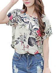 Women's Going out Vintage / Street chic Blouse,Print Round Neck Short Sleeve Beige Rayon Thin