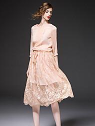 frmz sair sofisticado bloco bainha dresscolor torno do pescoço manga midi poliéster rosa primavera / nylon
