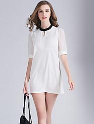 Eosciy® Damen Rundhalsausschnitt 1/2 Ärmel Mini Kleid-80202