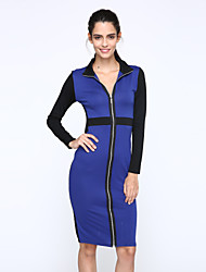 Women's Splicing Slim Zip Package Hip Long-sleeved  Dress