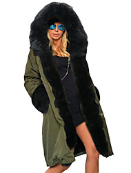 Women's Solid Warm Padded Coat with Remove Fur Collar,Vintage / Street chic / Punk & Gothic Hooded Long Sleeve
