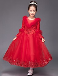 Ball Gown Tea-length Flower Girl Dress - Satin / Tulle Long Sleeve V-neck with Appliques / Sequins