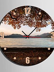 Kreisförmig Modern/Zeitgenössisch Wanduhr , Anderen Leinwand 40 x 40cm(16inchx16inch)x1pcs/ 50 x 50cm(20inchx20inch)x1pcs