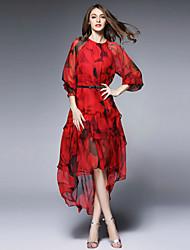 burdully женщин происходит из изощренными свободно dressprint вокруг шеи миди с длинным рукавом средней высоты неэластичный среды