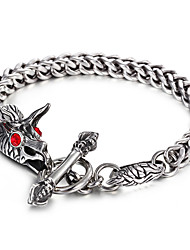 316L Stainless Steel Link Chain Red Evil Eyes Ox Cattle Animal Bracelet 2016 Fashion Punk Cool Men's Accessory Gift
