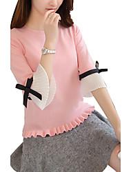 Normal Pullover Femme Décontracté / Quotidien Vintage Mignon,Couleur Pleine Rose Noir Gris Col Arrondi ½ Manches Rayonne Polyester Eté