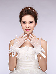 Wrist Length Fingertips Glove Tulle Bridal Gloves Spring lace
