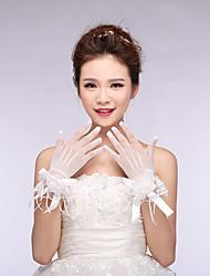 До запястья С открытыми подушечками пальцев Перчатка Тюль Свадебные перчатки Весна Кружева