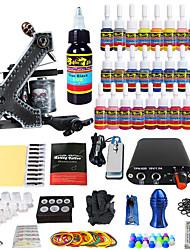 tatuagem solong iniciante kit tattoo 1 máquina pro apertos de 28 tintas de agulhas fornecimento de energia dicas