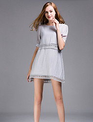 Damen A-Linie Kleid-Ausgehen Retro / Street Schick Solide Rundhalsausschnitt Mini ½ Länge Ärmel Rosa / Grau Baumwolle SommerMittlere