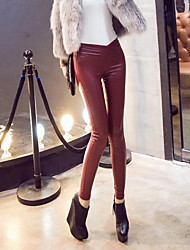 Women's Solid Red / Black Skinny Pants,Sexy