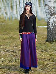 Pantalon Aux femmes Large Vintage Polyester / Spandex Non Elastique