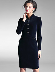 Baoyan Women's Stand Long Sleeve Knee-length Dress-150801