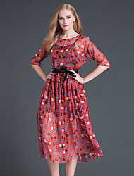 Boutique S Going out Cute Loose DressPolka Dot Round Neck Midi  Length Sleeve Red Silk / Polyester Summer