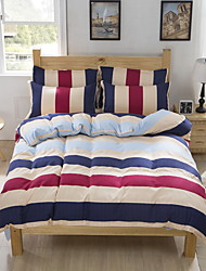 Bedtoppings Comforter Duvet Quilt Cover 4pcs Set Queen Size Flat Sheet Pillowcase Colorful Stripe Pattern Prints Microfiber