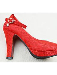 Damen-High Heels-Lässig-Gummi-StöckelabsatzRot