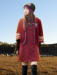 Our Story Women's Going out Boho JacketsPaisley V Neck Long Sleeve Winter Red Rayon / Polyester Thick