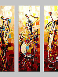 Hand-painted Wall Art Abstrac Home Decor Play Instruments Oil Painting on Canvas 3pcs/set No Frame