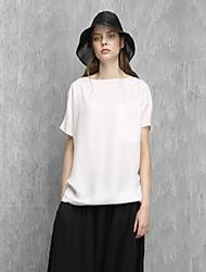 rizhuo Frauen Casual / Tages einfach Sommer t-shirtsolid Rundhals Kurzarm weiß Rayon dünn