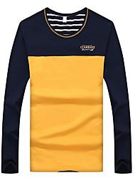 Herren T-shirt-Gestreift / Einfarbig / Patchwork Freizeit / Büro Baumwolle / Elasthan Lang-Blau / Orange / Weiß / Grau
