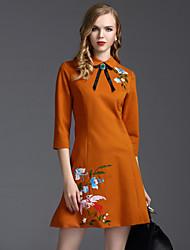 Gaine Robe Femme Travail Chinoiserie,Broderie Col de Chemise Au dessus du genou Manches ¾ Noir / Marron Coton / Polyester PrintempsTaille
